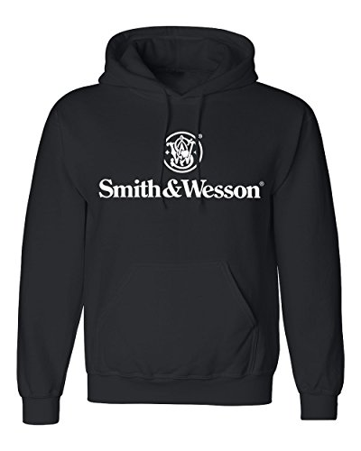 Smith and Wesson Men's Solid Logo Long Sleeve Cotton Hooded Sweatshirt, Size Medium, Black