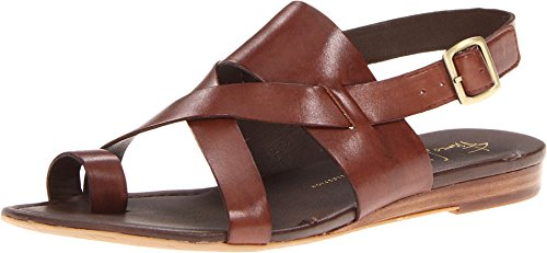 Franco Sarto Women's Gia Chocolate Leather Sandal 10 M Adjustable Strap Adult Sandals