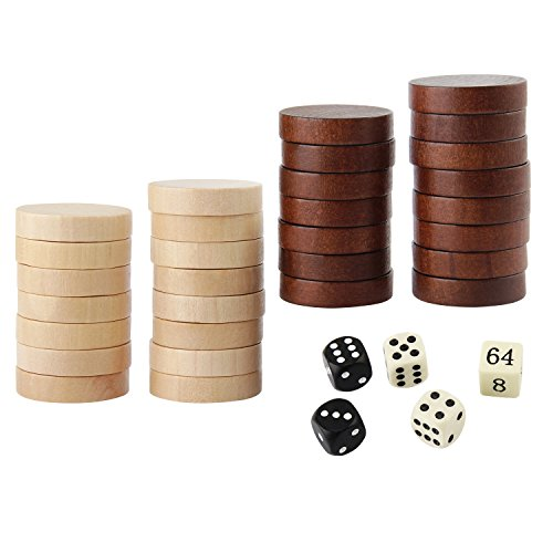 AMEROUS Wooden Checkers Pieces Nature Wood Backgammon Pieces with Drawstring Bag, 5 Dices Included ()