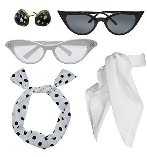 Retro 1950s Polka Dot Style Scarf Glasses Headband and Earrings Costume Accessories Set (One Size, White)