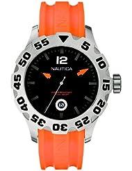 Nautica Mens N14603G BFD 100 Date Orange and Black Watch