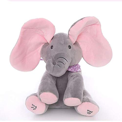 Peek-a-boo Plush Elephant Peekaboo Elephant Electric Blinking with Concert Singing Gray Plus Red English Version Elephant (11 Plush Elephant)