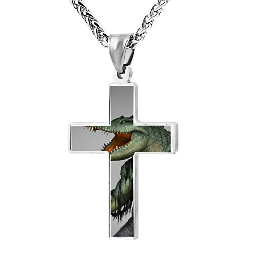 - Unique Metal Religious Alligator Crocodile Warrior Zinc Alloy Stainless Silver Steel Cross Necklace Holder Pearl Chain Urn Pendants