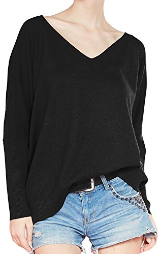 -Neck Pullover Loose Sexy Batwing Sleeve Wool Cashmere Sweater Tops X-Large Black ()
