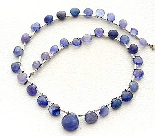 GemAbyss Beads Gemstone Tanzanite Smooth Heart Shaped Beads, Nice Quality, 4 mm - 7 mm,8 Inch Long Strand [E0541] Tanzanite Smooth Heart Shape Beads Code-MVG-32914