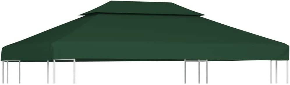 vidaXL Toldo de Cenador de Repuesto Tela Impermeable Verde 3x4m ...