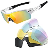 YOUNGDO Polarized Sports Sunglasses UV400 Cycling Glasses TR90 Unbreakable Frame with 5 Interchangeable Lenses for Men Women Driving Golf (Silver)