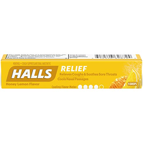 Halls Honey Lemon Cough Drops - with Menthol - 180 Drops (20 sticks of 9 drops) - Halls Cough Suppressant