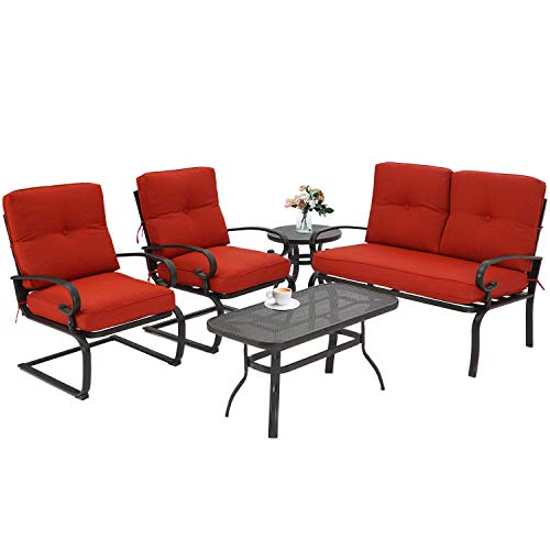 Incbruce 5Pcs Outdoor Indoor Patio Furniture Conversation Sets Loveseat and Spring Motion Chairs Bistro Set – Steel Frame Table and Chairs Set with Cushions (Red)