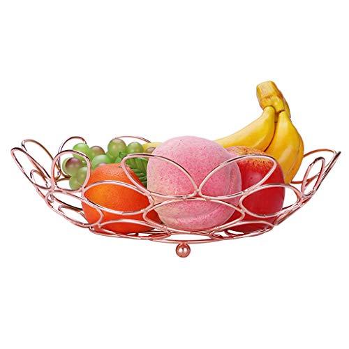 GX Fruit Basket Stainless Steel Goose Egg Modeling Hollow Fruit Plate,Home Creative Living Room Personality Decoration Fruit Basket (color : Rose gold)