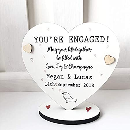 Missyjulia Ltd Personalised Freestanding Heart For Engagement Engagement Gift For Couples Personalised Gift W339 Amazon Co Uk Kitchen Home