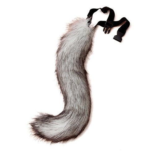 Dingang Teen/Adult Faux Fur Fox Tail for Adult Cosplay Costume Halloween Party Unisex Costume (Racoon Tail)
