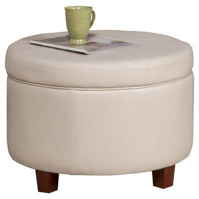 Homepop Large Faux Leather Round Storage Ottoman - Ivory Ivory by HomePop