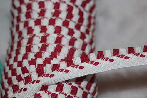 Designer Fabric - 5 Yards White red Cotton Lip Cord Piping Upholstery Non Stretch Trim 1/2 Wide - Clothing & Fashion Apparel Trimmings