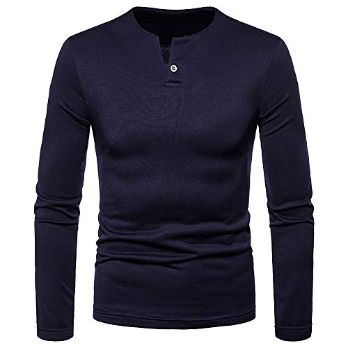 iDWZA Fashion Men's Autumn Winter Casual Brushed V-Neck Long Sleeve Button Shirt Top Blouse(Navy ,US S/CN M)