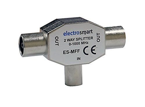 TV Aerial Coax Splitter 1 Male to 2 Female by electrosmart ~ Converts an...