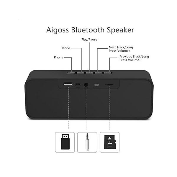 Aigoss Enceinte Bluetooth Portable, Haut-Parleur Bluetooth 5.0 Enceinte Portable Pilote Double Subwoofer Son HD Stéréo Mains Libres, Radio FM Fonction TF Carte Noir 4