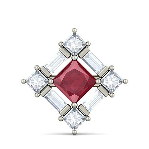 18K Or Blanc 0.92carat au total Round-cut-diamond (IJ   SI) et rubis Boucles d'oreille à tige
