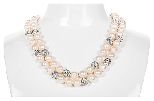 White Double Strand Layer Freshwater Pearl and Crystal Necklace 10mm 22