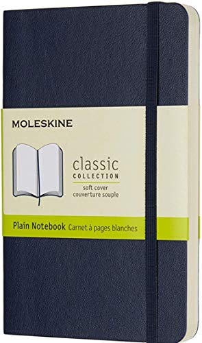 """Moleskine Classic Notebook, Soft Cover, Pocket (3.5"""" x 5.5"""") Plain/Blank, Sapphire Blue, 192 Pages"""