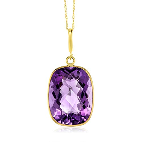 - Gem Stone King 14K Yellow Gold Purple Amethyst Pendant Necklace with 18 Inch Solid 14k Gold Chain (9.00 Ct Cushion Checkerboard Gemstone Birthstone 16X12MM)