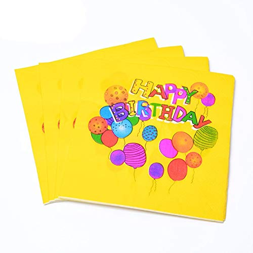 Taka Co Birthday Party Decoration 20 Sheets Disposable Party Tableware Paper Napkin for Boy Girl Happy Birthday Baby Shower Holiday Party Supplies Decorations-5