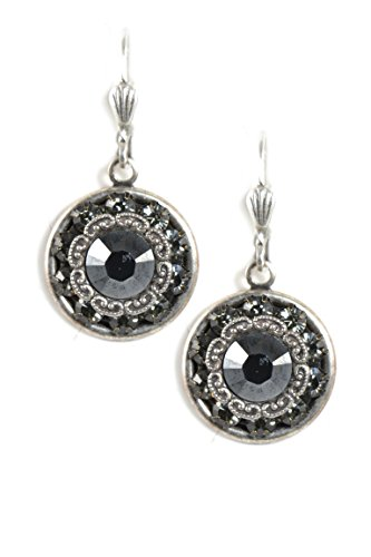 Clara Beau Black Jet color Swarovski Glass Crystal Round Silvertone Earrings E137 S-Jet Swarovski Crystal Crown Earring