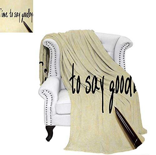 (Throw Blanket Time to Say Goodbye Hand Writing Ink Pen and Paper Artwork Print Velvet Plush Throw Blanket 60