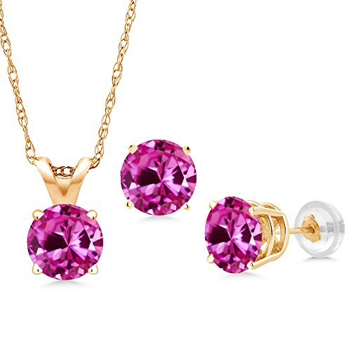 3.00 Ct Pink Created Sapphire 14K Yellow Gold Pendant Earrings Set With Chain (Pink Sapphire Yellow Necklace)