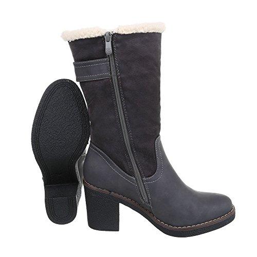 Ital-Design Western- & Bikerstiefel Damenschuhe Biker Boots Pump Western Style Reißverschluss Stiefel Grau