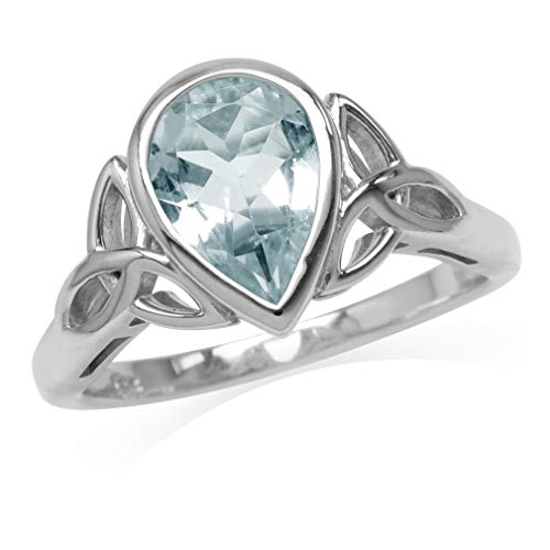 1.43ct. 10x7MM Genuine Pear Shape Blue Aquamarine 925 Sterling Silver Triquetra Celtic Knot Ring Size 7 ()