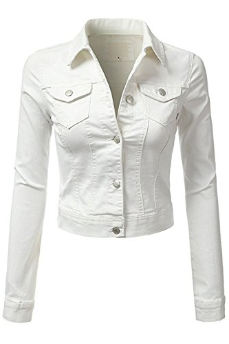 - FASHION BOOMY Womens Button Down Denim Jacket - Long Sleeve Classic Cropped Blue Jeans Outerwear - Regular and Plus Sizes (2X, Wht_Denim)