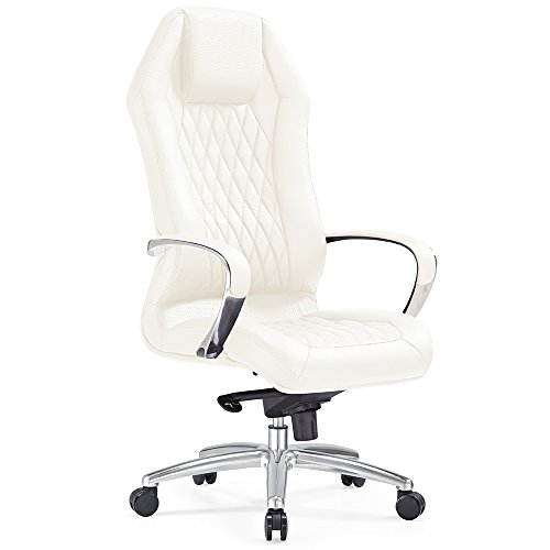 Modern Ergonomic Sterling Leather Executive Chair with Aluminum Base- Cream by Zuri Furniture