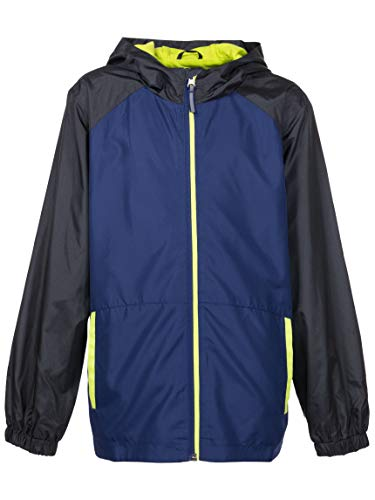 Green Boys Raincoat - Arctic Quest Children's Colorblock Windbreaker Jacket with Jersey Lining & Hood, Blue/Lime Green, 8