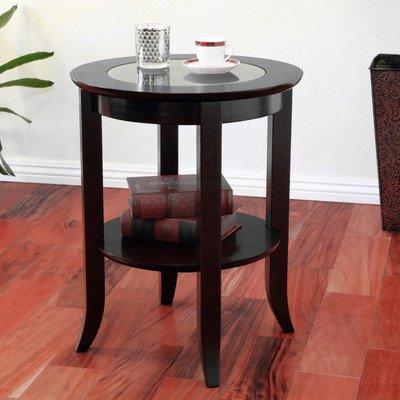 frenchi genoa end table round side accent table inset glass espresso