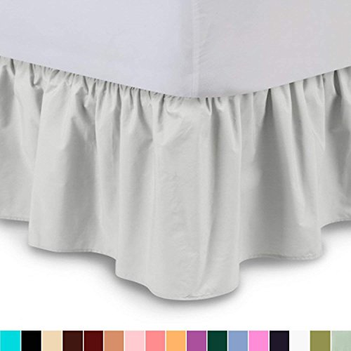 Hunter Ruffled Bedskirt - Ruffled Bedskirt (Queen, Bone) 18 inch Bed Skirt with Platform, Wrinkle and Fade Resistant - by Dream Linen (Available in All Bed Sizes and 16 Colors)
