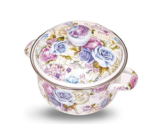 Household Enamel Pot Soup Pot Uncoated Induction Cooker Universal Double Ear Pot (Size : 4L)