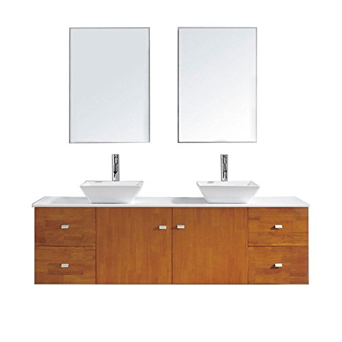Virtu USA Clarissa 72 in. Double Basin Vanity in Honey Oak with Artificial Stone Vanity Top in White and Mirror - Clarissa Vanity