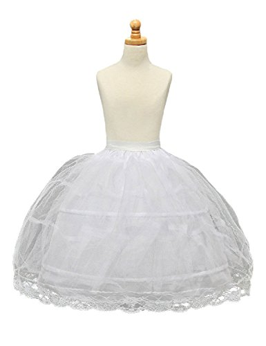 Monalia Ball Gown 2 Hoops Flower Girl Slips Wedding Petticoat Underskirt MPC11 White by Monalia