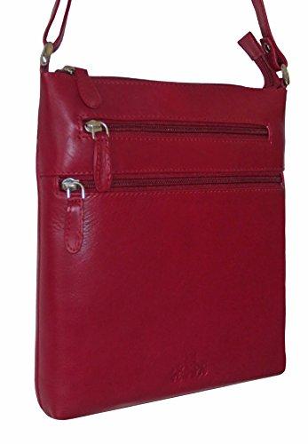 Damen Echt Leder Umhängetasche Schultertasche (Rot)