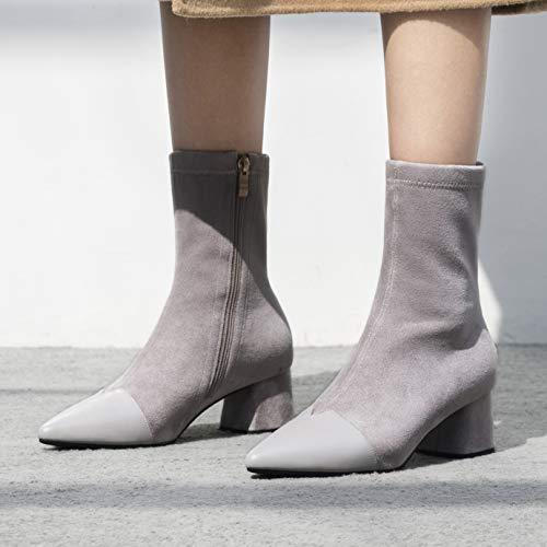 Gris Biker Elegantes Mujer Otoño Annieshoe Botas Tacon Boots qP6Uxn01w