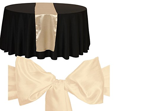 Elina Home Combo Satin 10 Table Runner & 50 Bow Sashes Tablerunner and Chair Wedding, Champagne