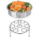 2 Pieces Steamer Basket Rack with Egg Steamer Rack Trivet for Instant Pot and Pressure Cooker Accessories, Fits Instant Pot 6, 8 qt