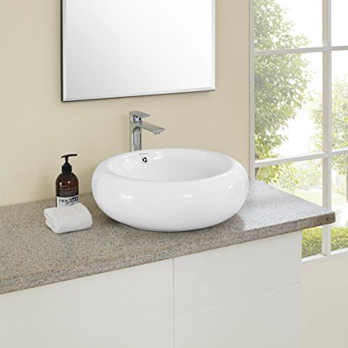 Madison Vanity Bathroom - Swiss Madison SM-VS262 Plaisir Ceramic Porcelain Round Vessel Vanity Art Basin Bathroom Sink With Overflow