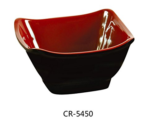 Yanco CR-5450 Black and Red Two-Tone Square Bowl, 10 oz Capacity, 4.75'' Length, 4.75'' Width, 2.25'' Height,  Melamine, Black/Red Color, Pack of 48 by Yanco