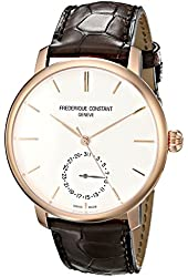 Frederique Constant Men's 'Slim Line' Silver Dial Rose Goldtone Swiss Automatic Watch With Brown Leather Band  FC-710V4S4