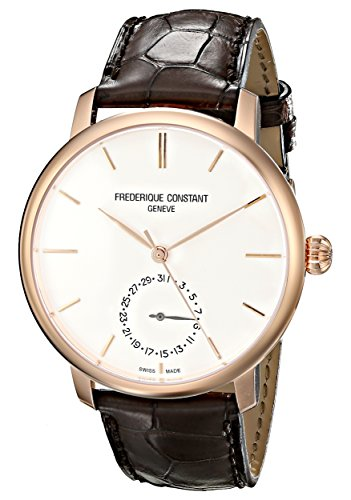 Frederique Constant Men's 'Slimline Manufacture' Swiss Automatic Gold-Tone and Leather Dress Watch, Color:Brown (Model: FC-710V4S4)