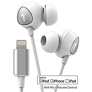 Thore iPhone Earbuds with Lightning Connector MFi Certified by Apple Earphones (V100) Wired in-Ear Headphones with Volume Control & Mic for iPhone X, XS iPhone 11 and 11 Pro Max (White Silver)
