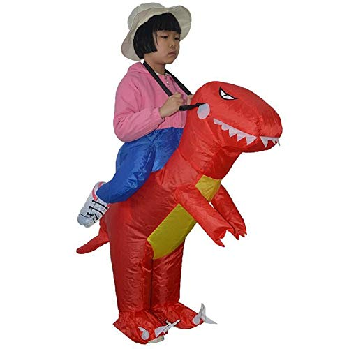 WSJKL Halloween Inflatable Costumes Green Dinosaur Knight Funny for Kids with Electric Inflatable Pump (Color : Red) -
