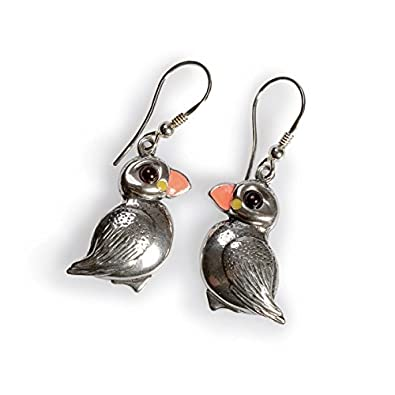 Classic Baltic Amber and Silver Puffin Hook Earrings mopmgaX